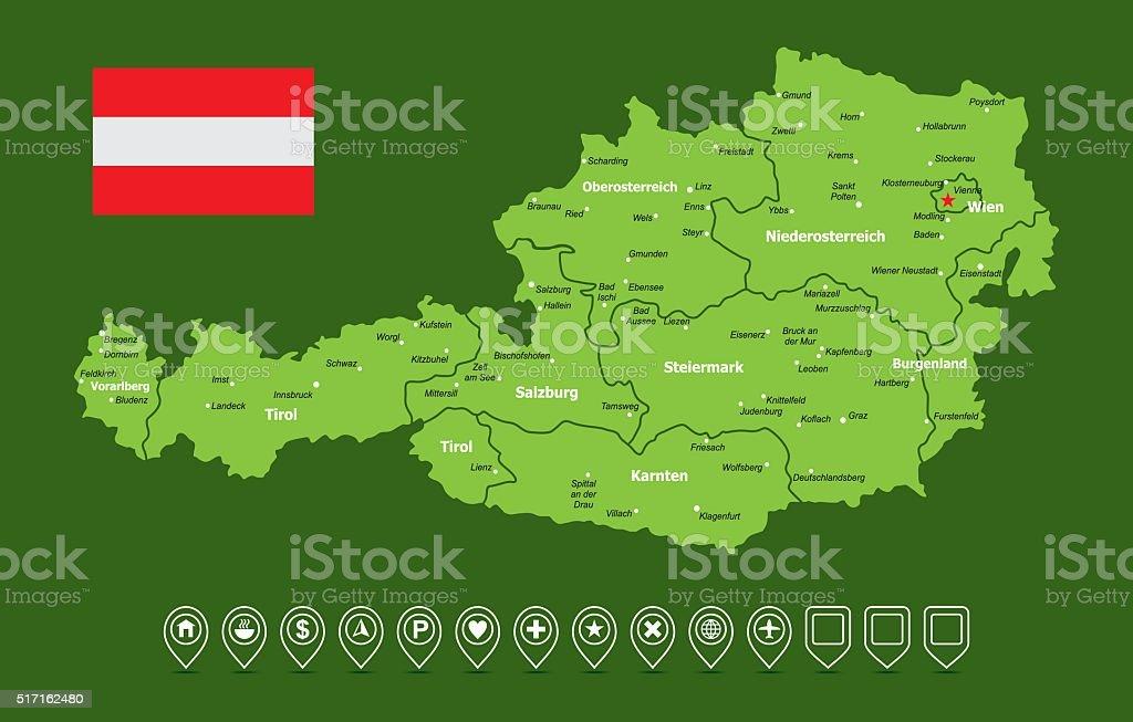 Austria Map vector art illustration