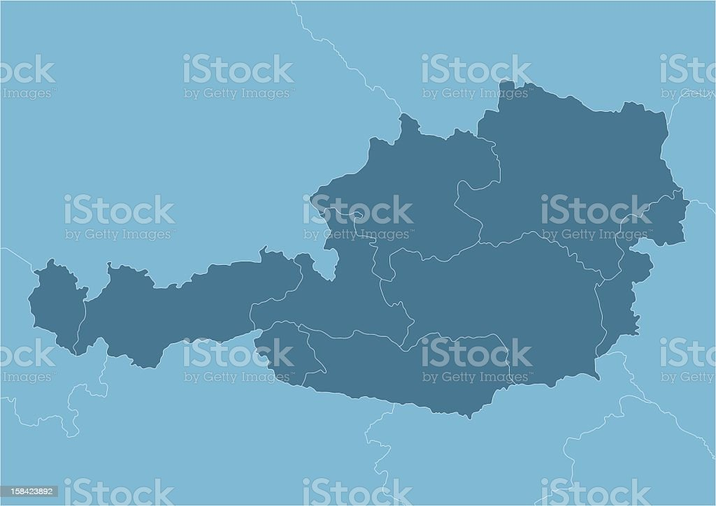 Austria map with internal provinces borders marked royalty-free stock vector art