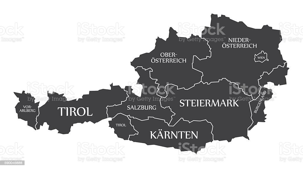 Austria Map with states and labelled black vector art illustration