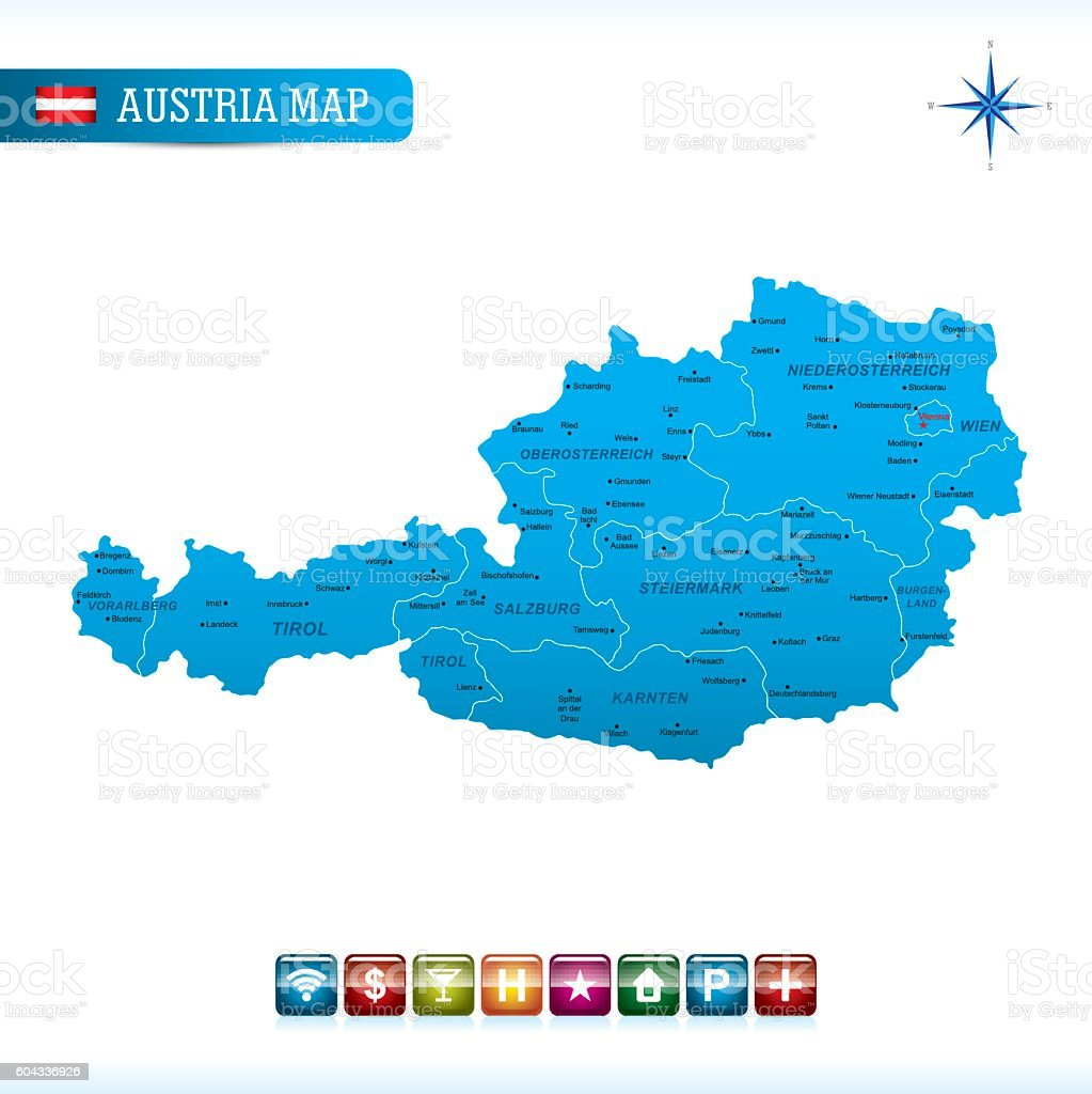 Austria Vector Map vector art illustration