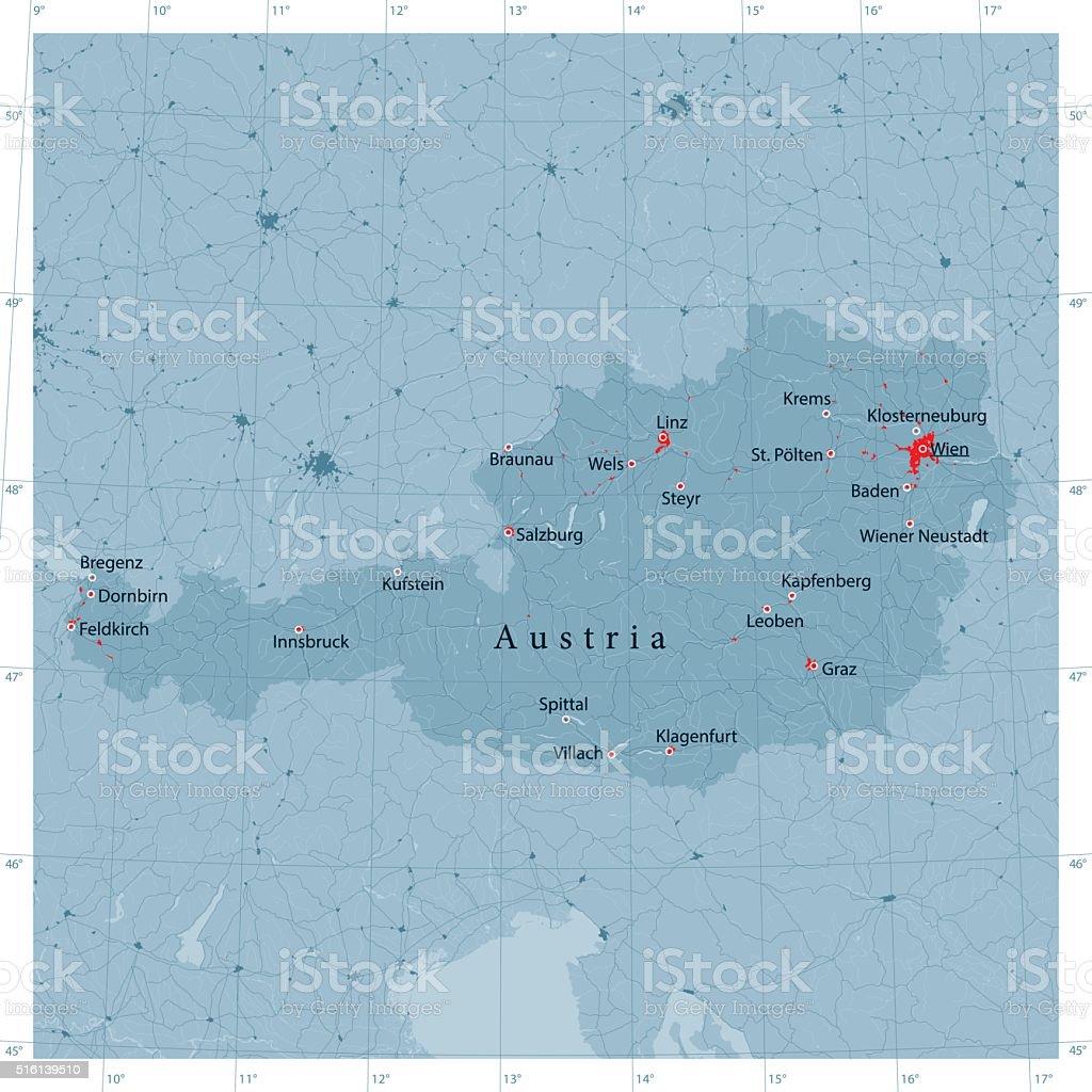 Austria Vector Road Map vector art illustration