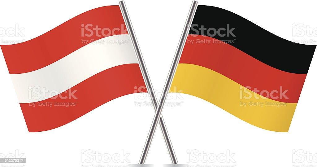 Austrian and German flags. Vector. vector art illustration