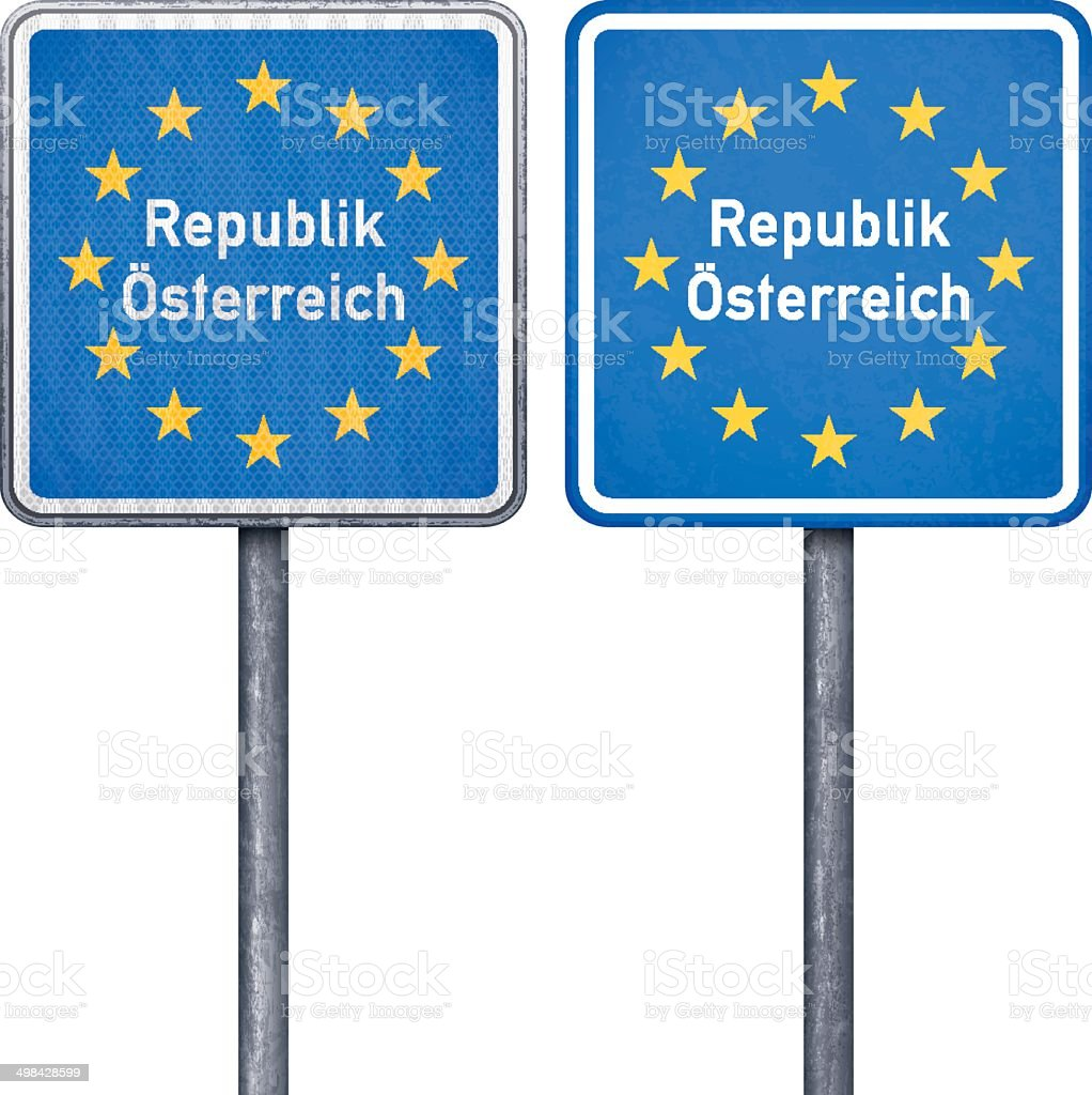Austrian border road sign with European flag royalty-free stock vector art