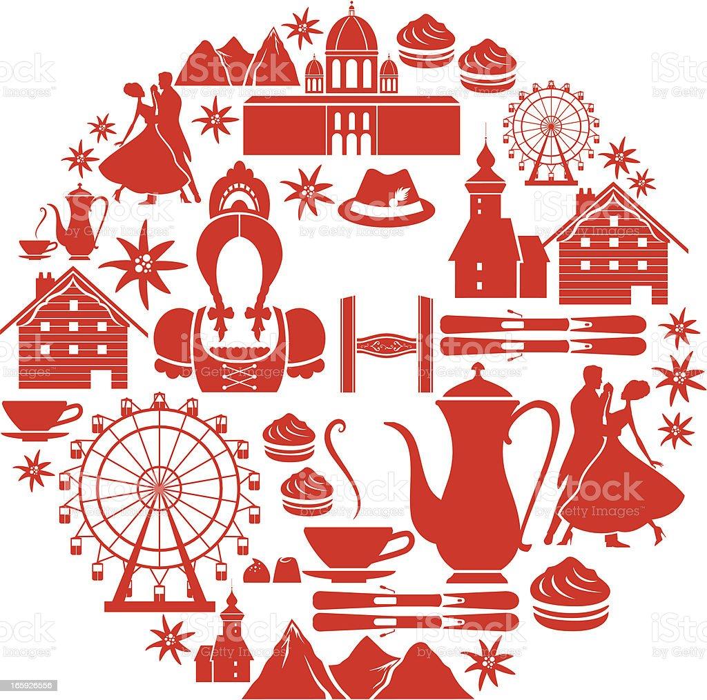Austrian Icon Set vector art illustration