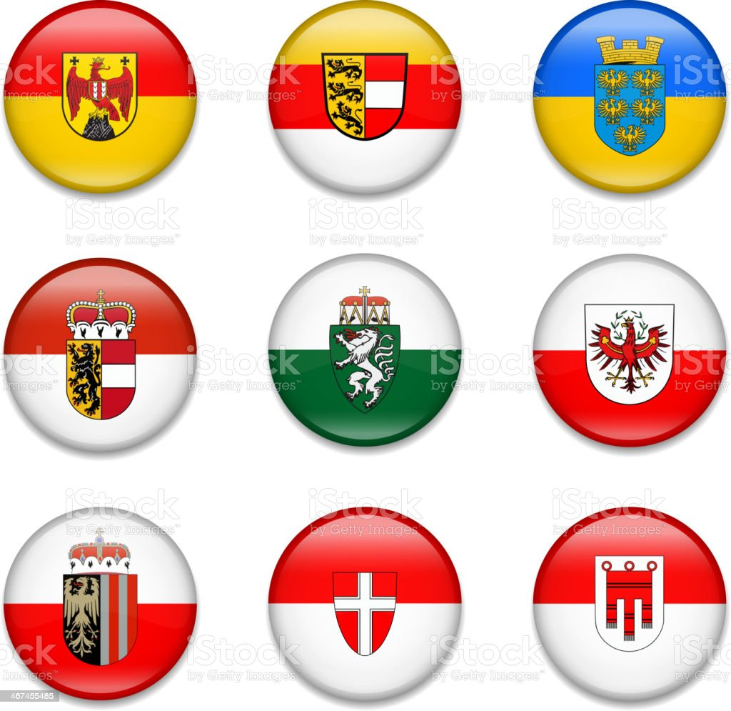 Austrian States Button Flag Collection vector art illustration