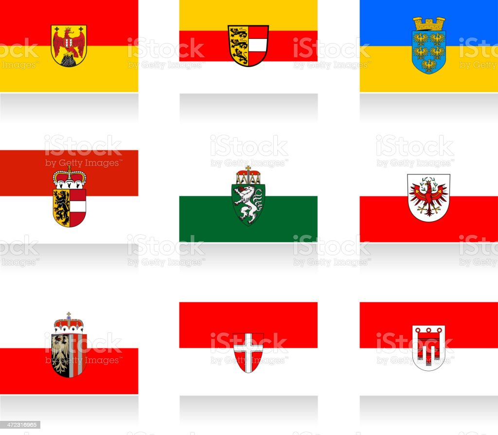 Austrian States Flag Collection vector art illustration
