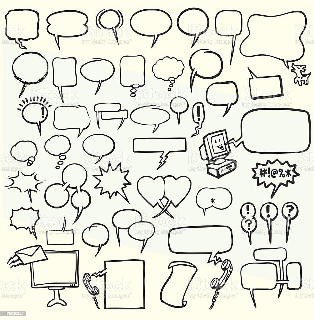 Authenic Speech Balloons - Transparent vector art illustration