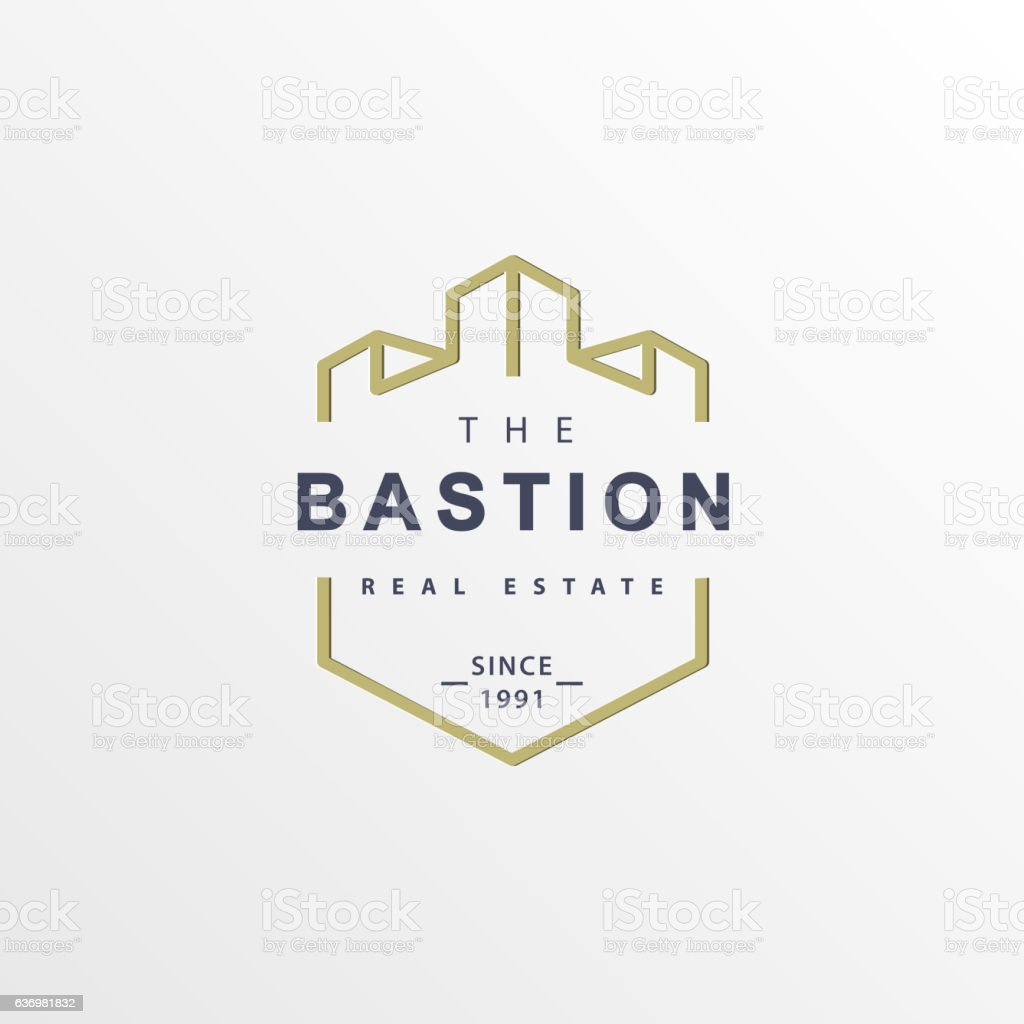 Authentic castle tower real estate company logo. vector art illustration