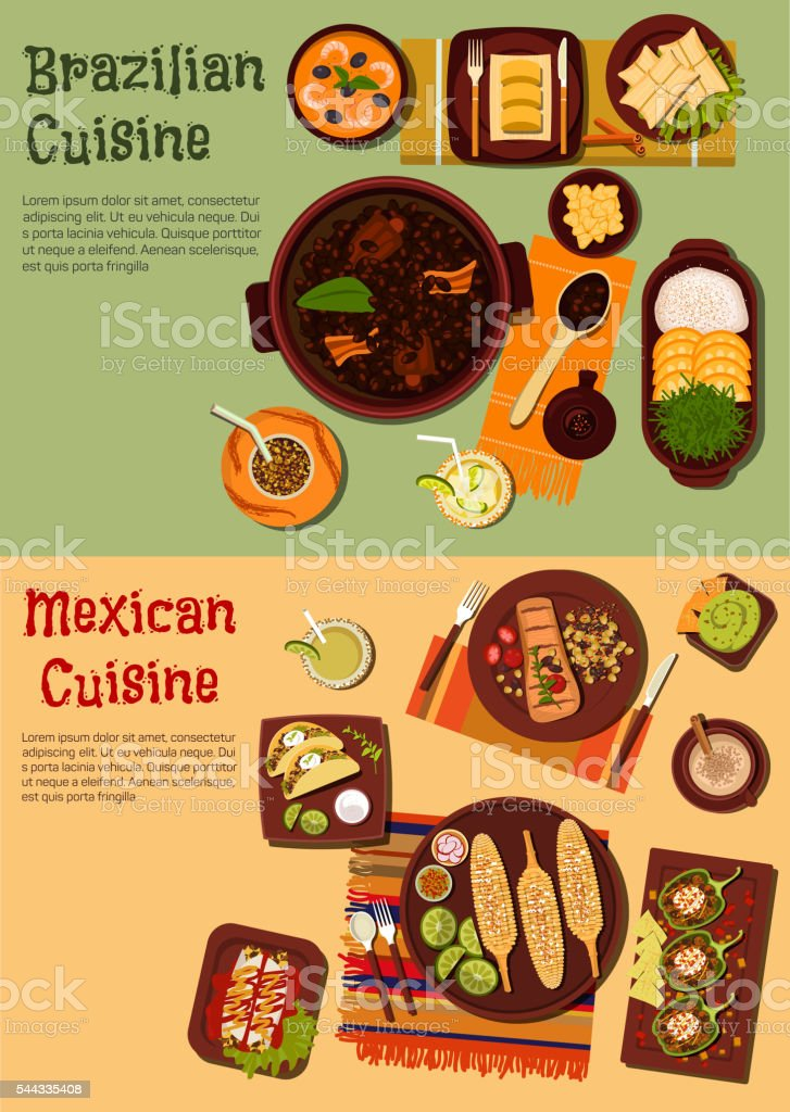 Authentic cuisine of Mexico and Brazil symbol vector art illustration