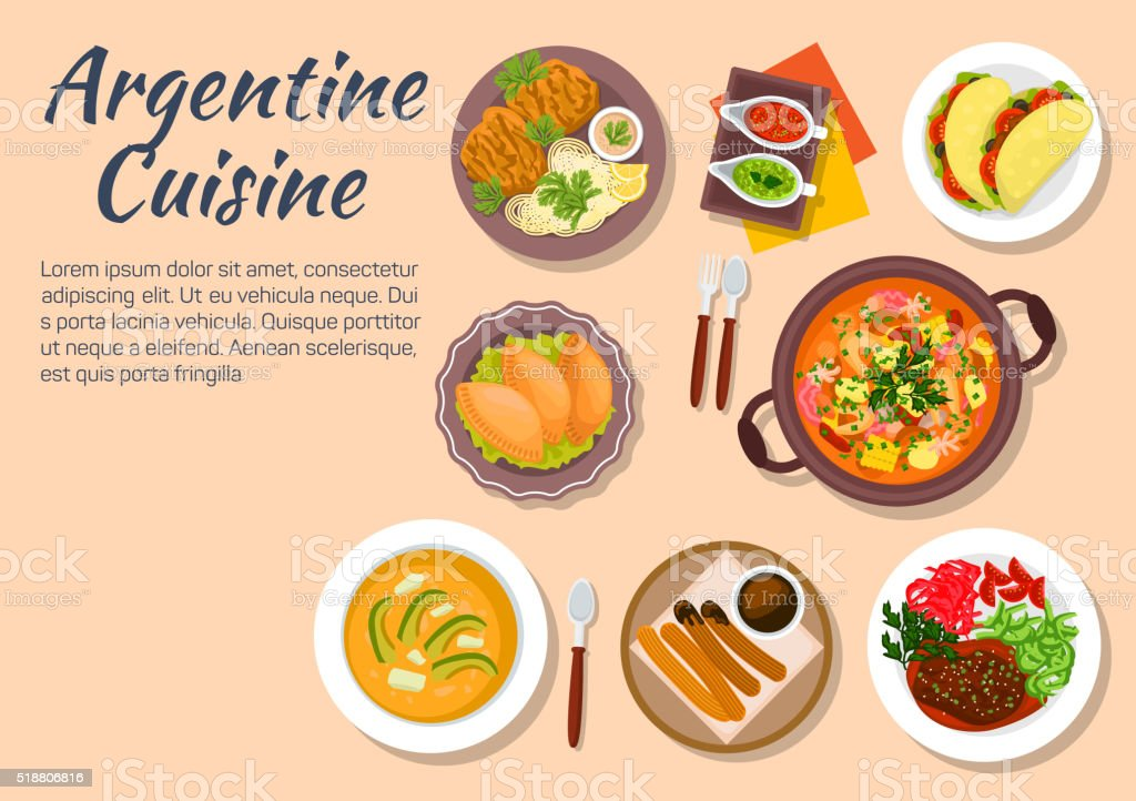 Authentic dishes of argentine cuisine vector art illustration