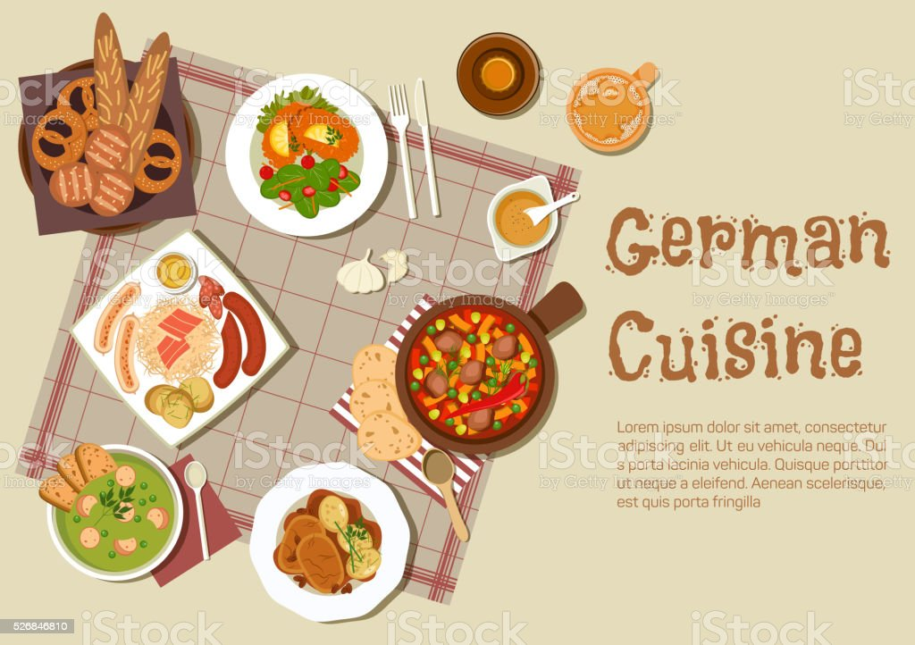Authentic german meat dishes flat icon vector art illustration