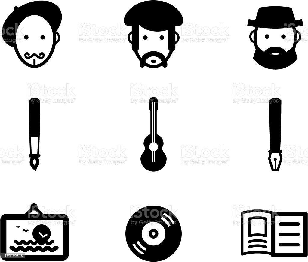 Author icons vector art illustration