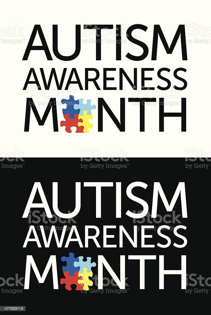 Autism Awareness Month vector art illustration