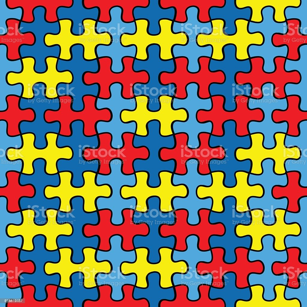 Autism Awareness puzzle seamless pattern vector art illustration