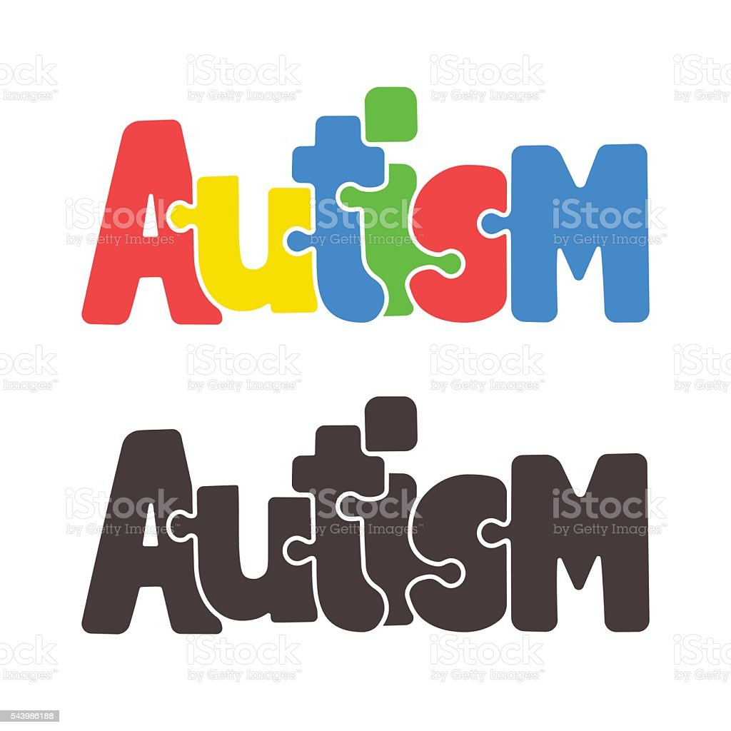 Autism jigsaw puzzle text vector art illustration