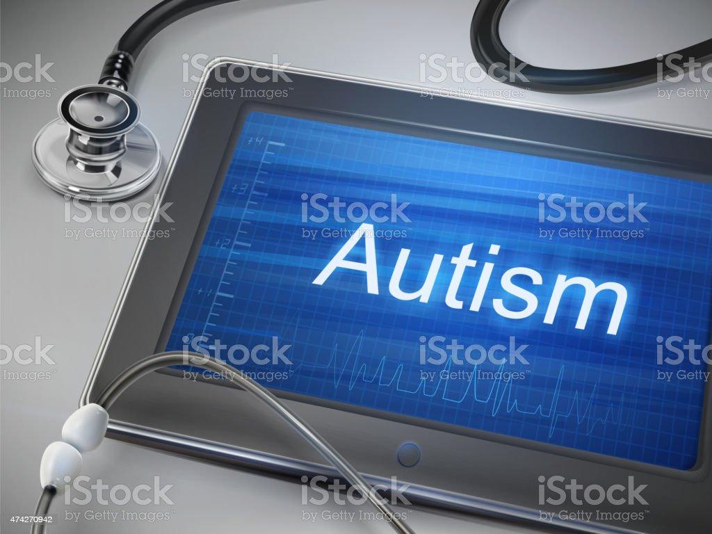 autism word display on tablet vector art illustration