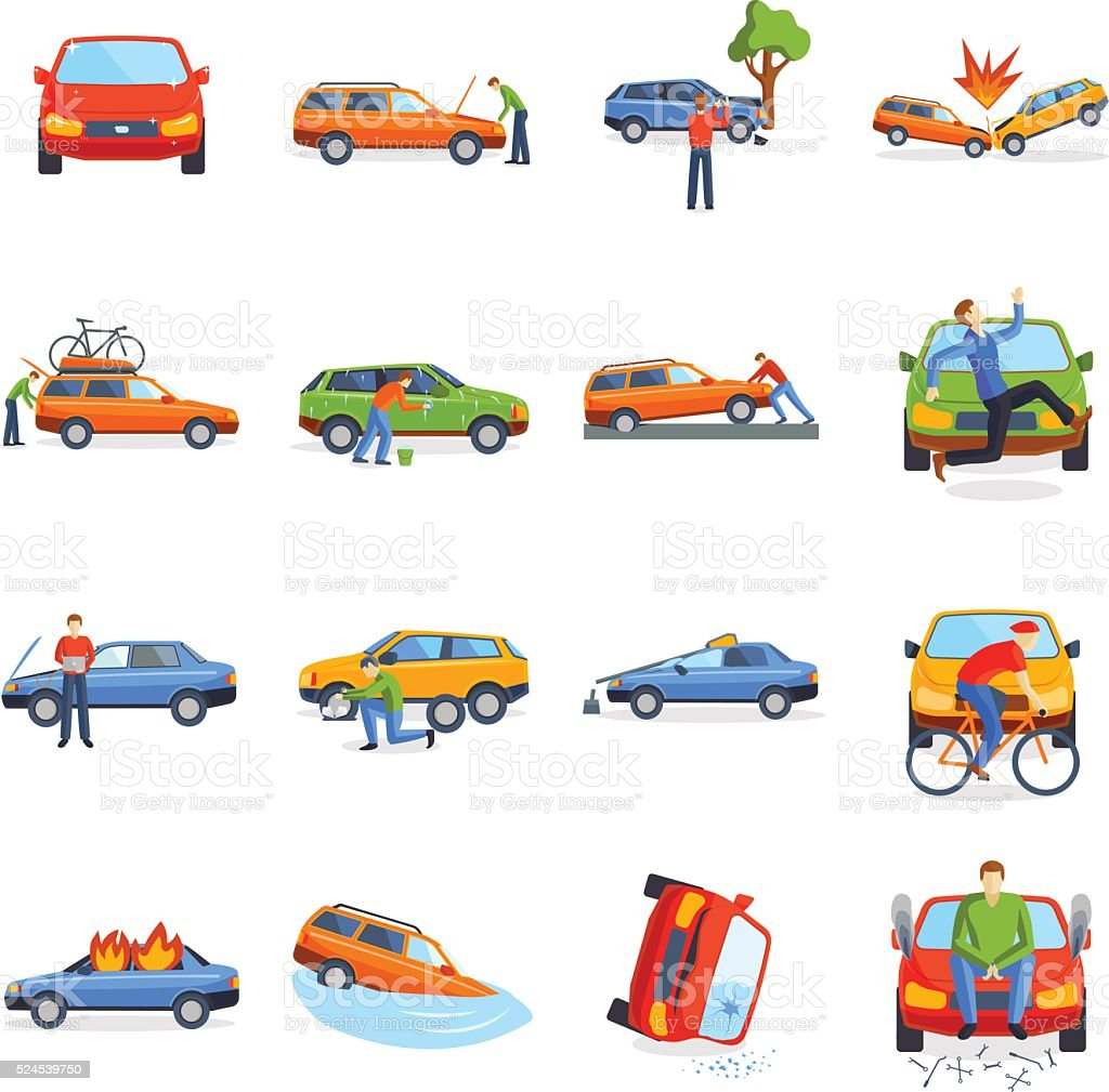 Auto accident involving car crash city street vector illustration vector art illustration