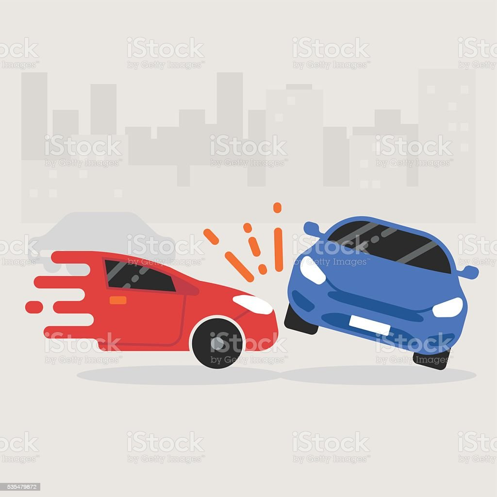 Auto accident involving two cars crashes on the road vector art illustration