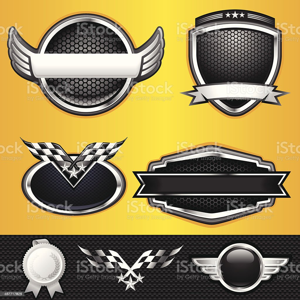 Auto and Race Winner Emblems vector art illustration