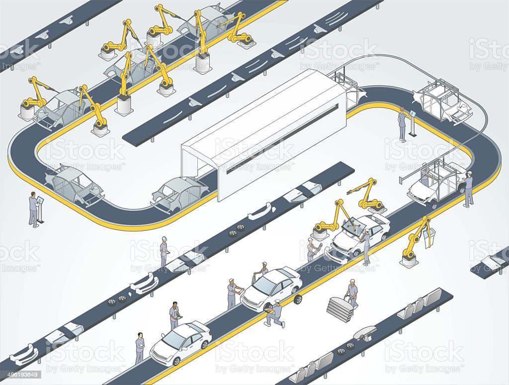 Auto Assembly Line Illustration vector art illustration