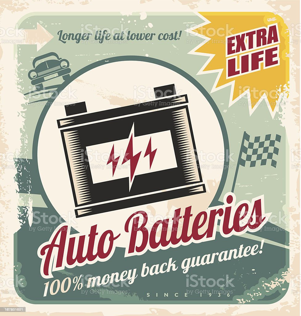 Auto batteries vintage poster design royalty-free stock vector art