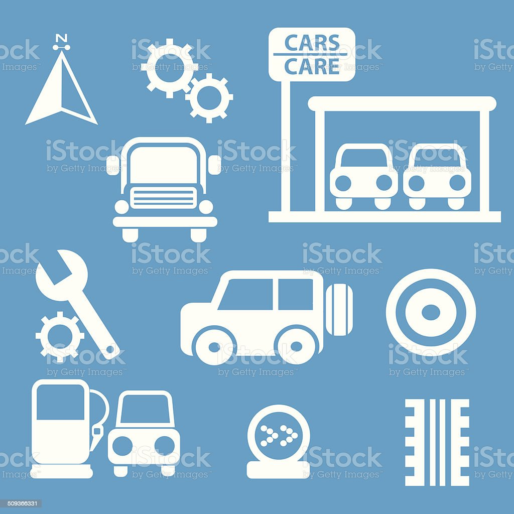 Auto car icons set on blue background,vector vector art illustration