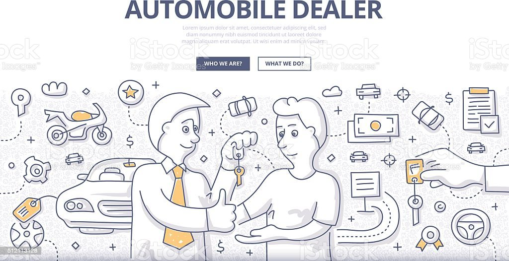 Auto Dealer Doodle Concept vector art illustration