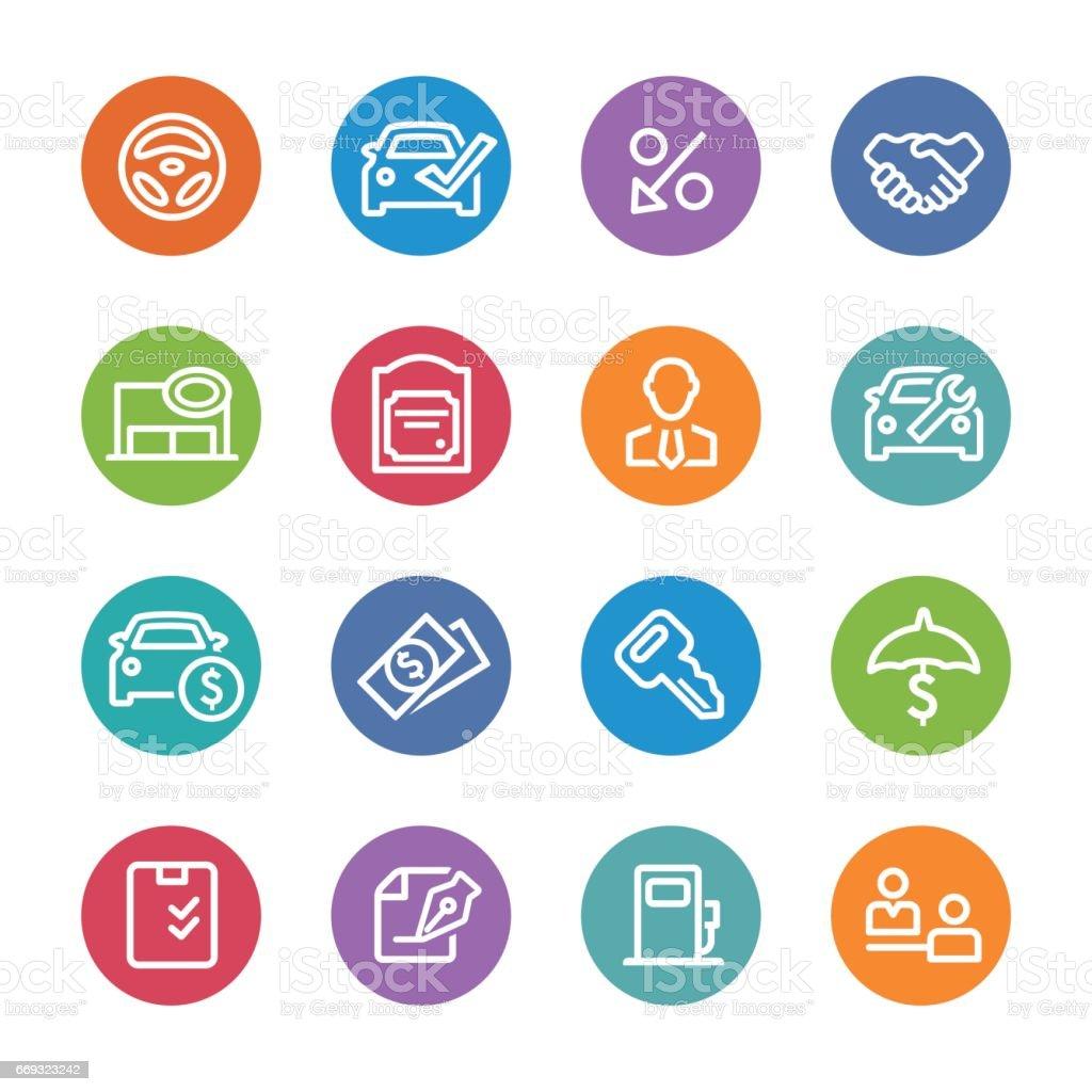 Auto Dealership Icons - Circle Line Series vector art illustration