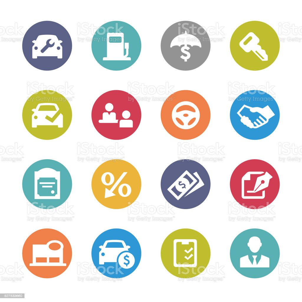 Auto Dealership Icons - Circle Series vector art illustration