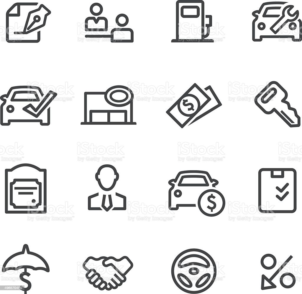 Auto Dealership Icons - Line Series vector art illustration