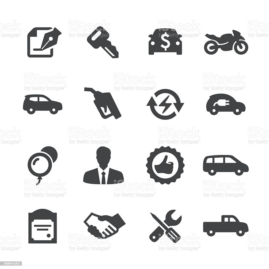 Auto Dealership Icons Set - Acme Series vector art illustration
