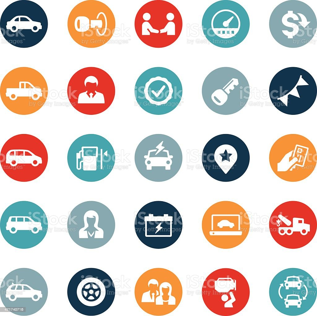 Auto Dealership Icons vector art illustration