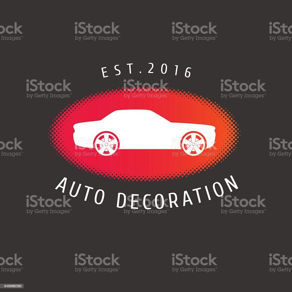 Auto decoration, car paint, spare parts vector emblem vector art illustration