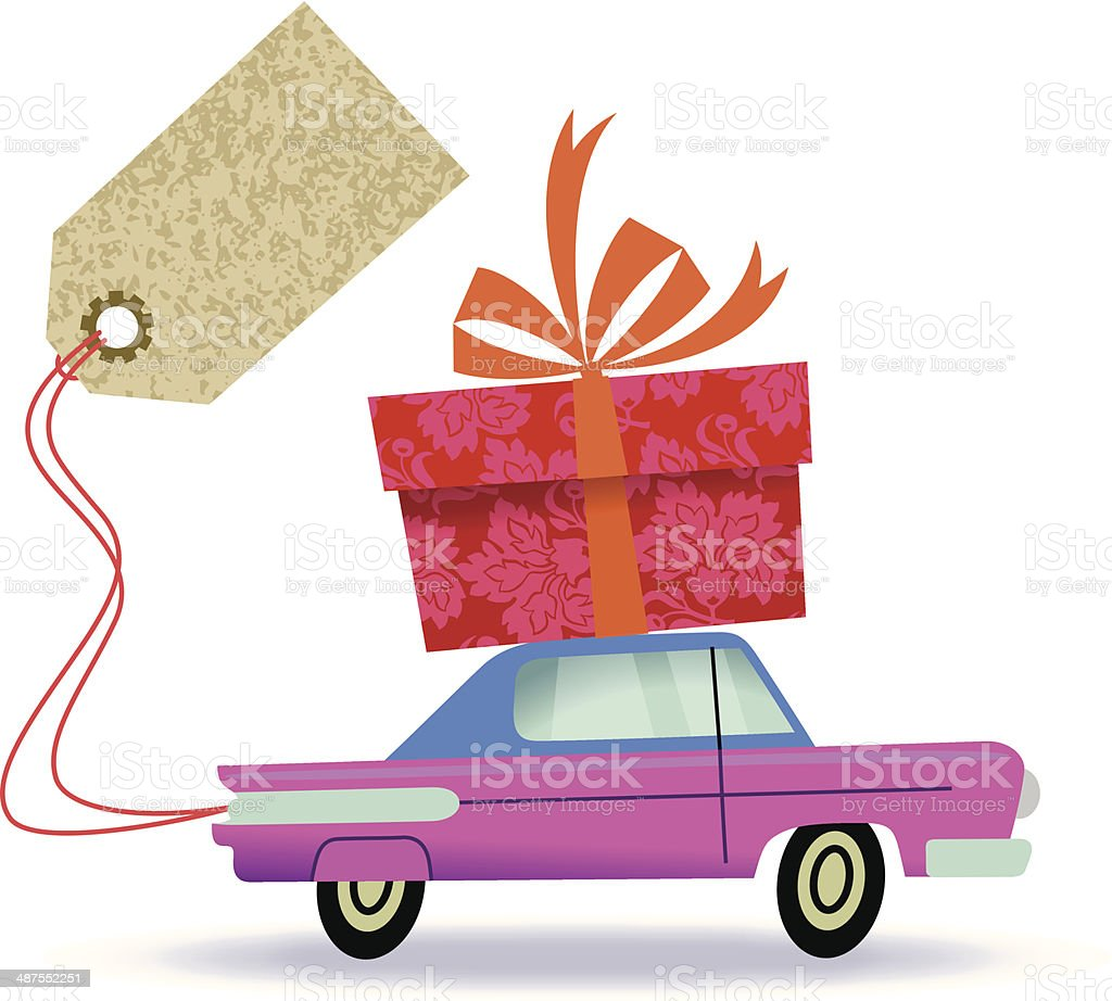 Auto Delivers Large Gift Box. royalty-free stock vector art