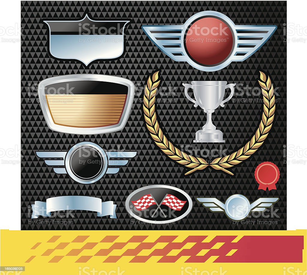 Auto Emblems Chrome Black royalty-free stock vector art