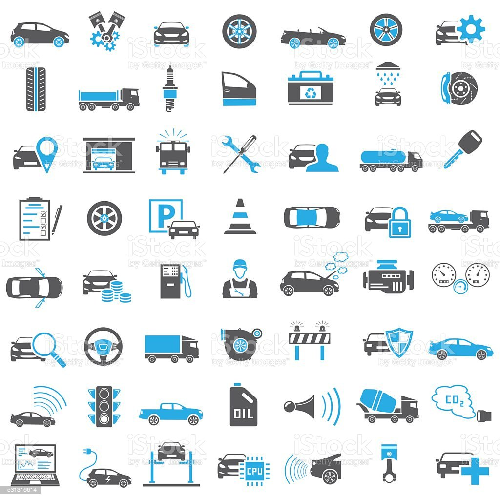 Auto Icons in Blue and Black Color vector art illustration