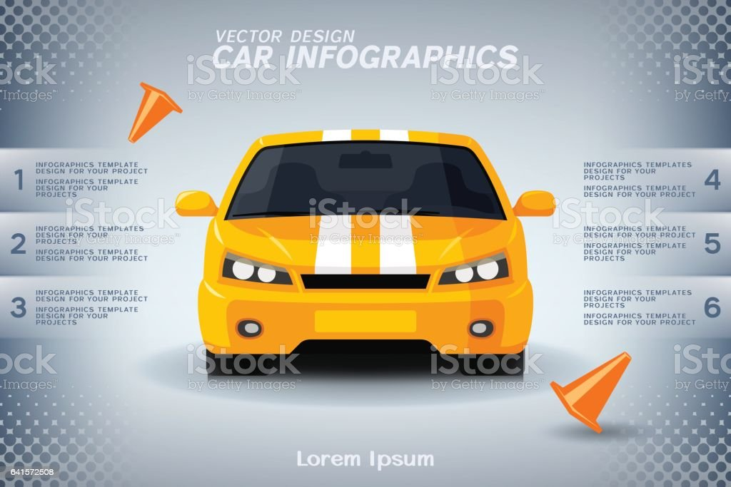 Auto infographics design with generic sports car and road cones vector art illustration