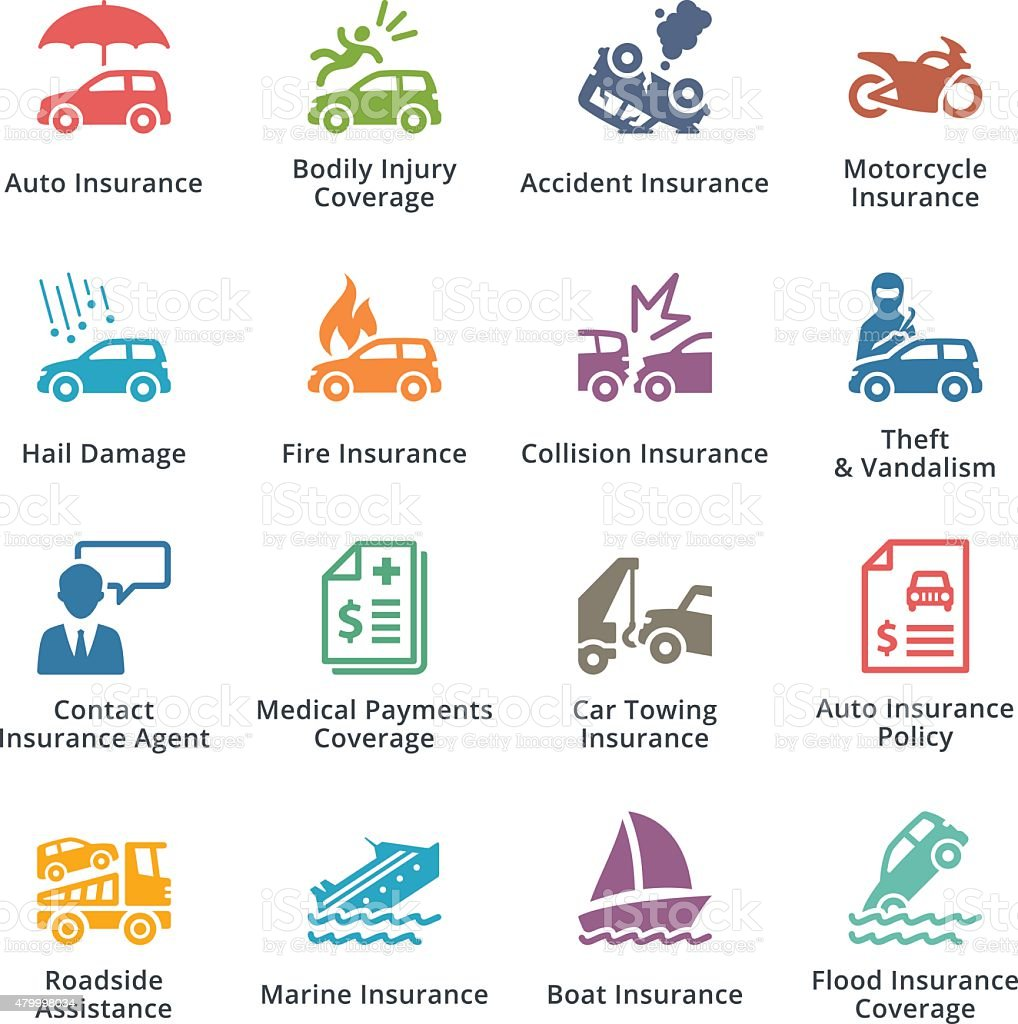 Auto Insurance Icons - Colored Series vector art illustration