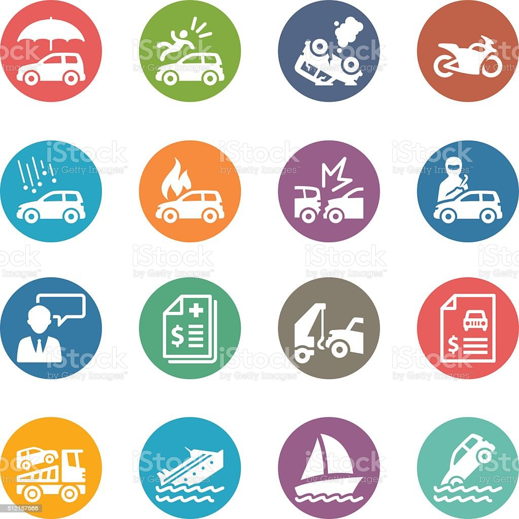 Auto Insurance Icons - Dot Series vector art illustration