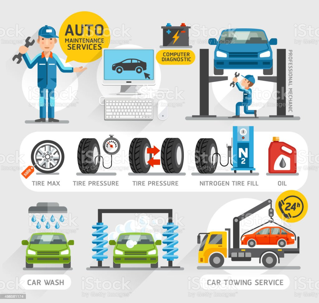 Auto Maintenance Services icons. vector art illustration