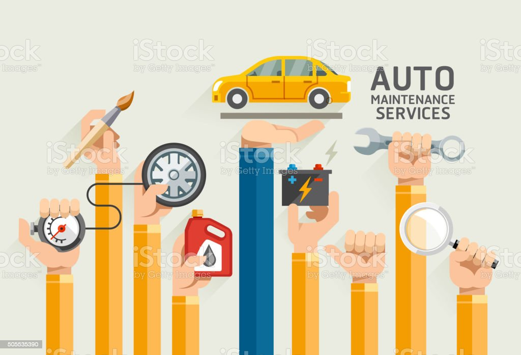Auto Maintenance Services. vector art illustration