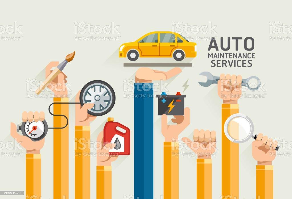 Auto Maintenance Services. vector art illustration