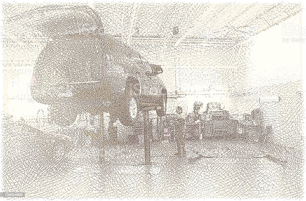 Auto Mechanic Working On Car vector art illustration