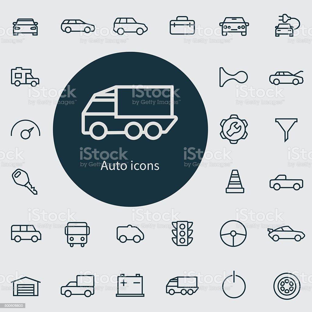 auto outline, thin, flat, digital icon set vector art illustration