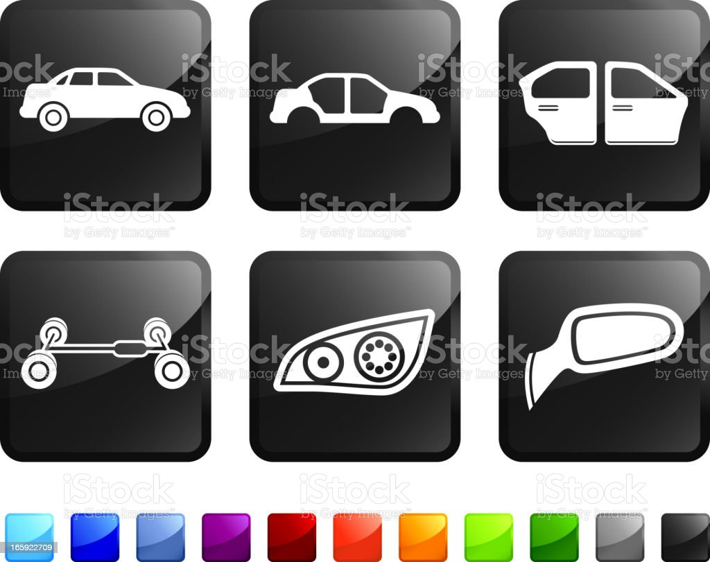 Auto Parts and Car Manufacturing Company vector icon set stickers vector art illustration