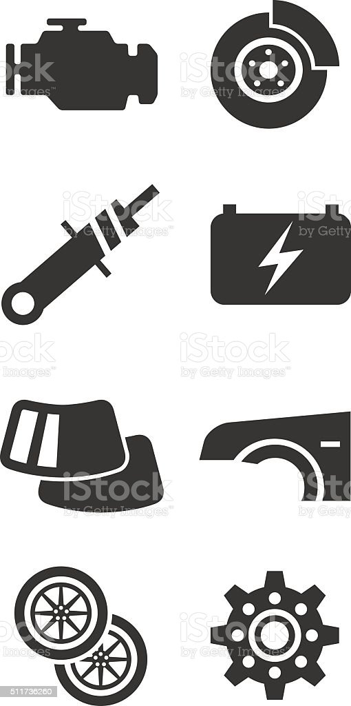 Auto parts icon set part one vector art illustration