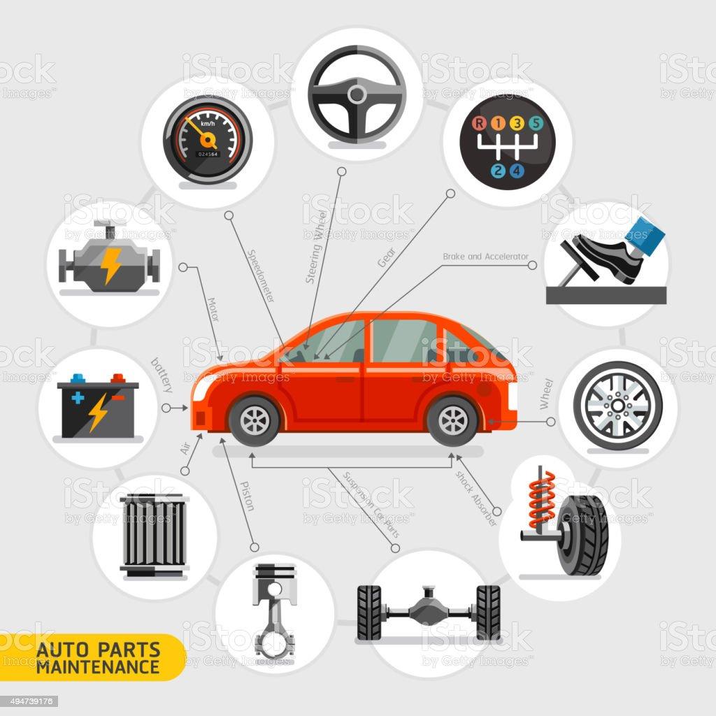 Auto parts maintenance icons. vector art illustration