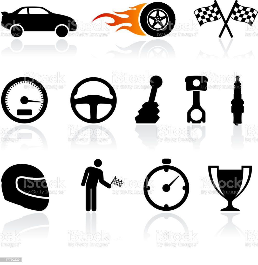 auto racing black and white royalty free vector icon set vector art illustration