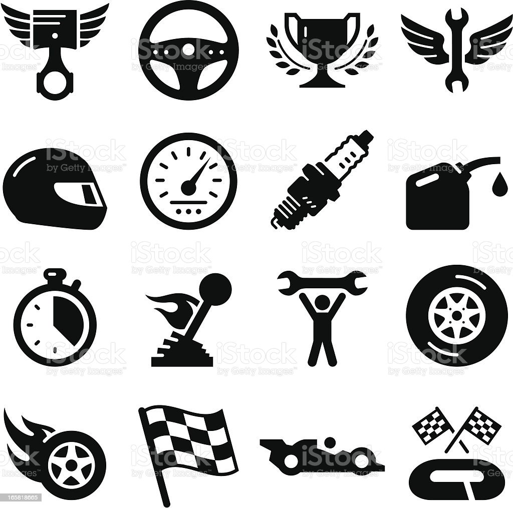 Auto Racing - Black Series vector art illustration