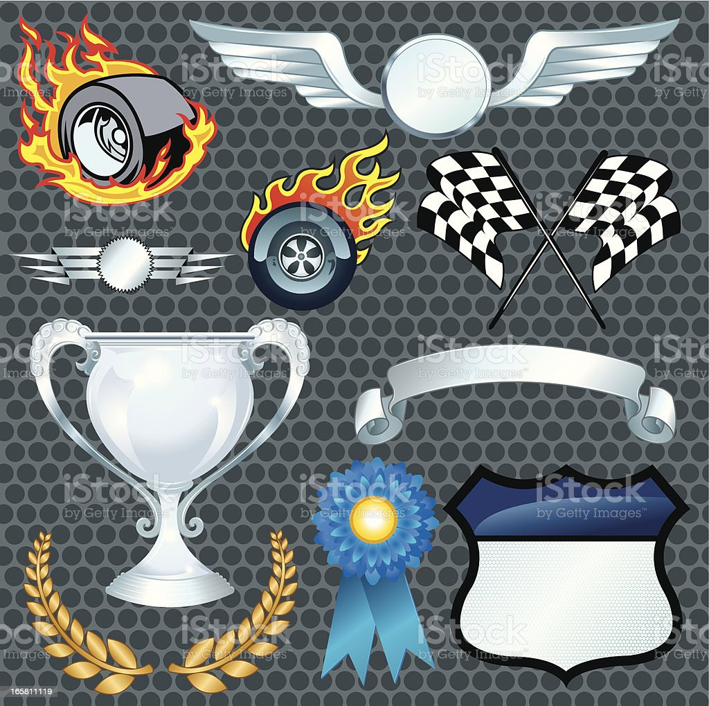 Auto Racing Elements - Flaming Tire, Checkered Flag vector art illustration